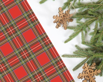 Red Plaid Tartan Holiday Wrapping Paper; 5 Sheets
