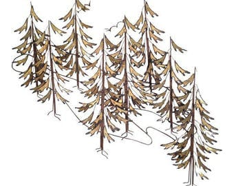 Curtis Jere Signed 1982 Alpine Trees Wall Sculpture