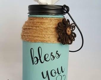 Mason Jar Tissue Holder, Bless You Tissue Jar, Tissue Holder, Kleenex Holder