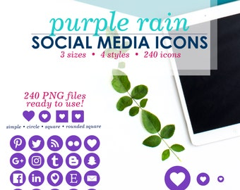 INSTANT DOWNLOAD • 240 Social Media Icons - Purple - Branding Set, Website Icons, Social Icons, Blog Icons, Icon Pack, Social Media Buttons