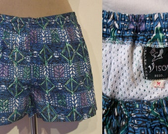 Great late 1950s / early 1960s men's hawaiian cotton print swim trunks Small