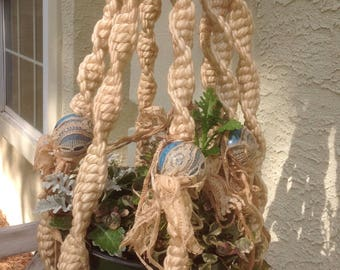Vintage Macrame Plant Hanger, Double, Beaded, Lace, Tea Stained Shabby Chic