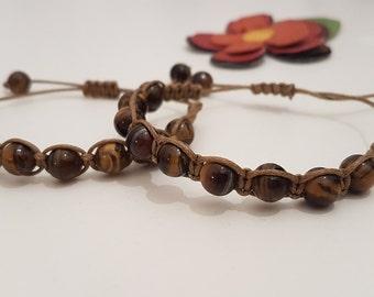 Shamballa bracelet with natural tiger eye