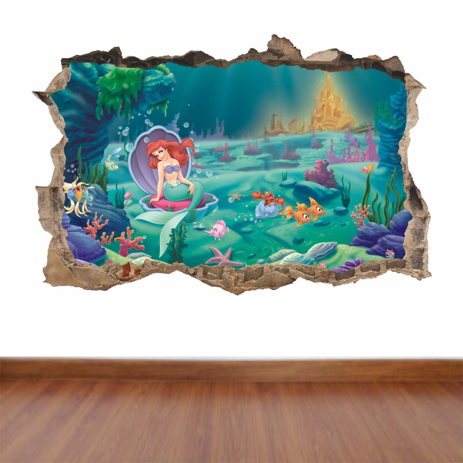 Little mermaid hole in the wall feature colour wall sticker decal little mermaid hole in the wall feature colour wall sticker decal poster vinyl in 4 sizes amipublicfo Images