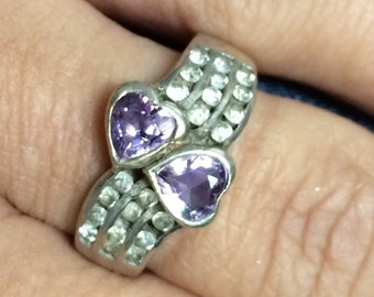 VINTAGE Sterling Silver 925 Amethyst Double Heart CZ Ring Size 8 STUNNING!