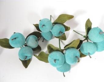 Vintage Turquoise Flocked Apples and Leaves on Floral Trim Wreath Pick - Set of 4 Turquoise Apples Floral Picks