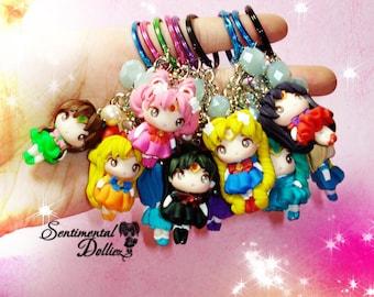Sailor moon - sailormoon crystal - sailor scouts- anime girls keychain, - sailor moon keychains - sailor senshi-  MADE TO ORDER