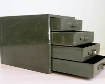 Vintage Green Metal Box,Industrial Metal Box,Industrial Salvage,Metal Storage Box,Antique Metal Box,Metal Box with Drawers,Small Metal Chest