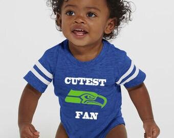Seattle SEAHAWKS CUTEST Fan onesie, makes a perfect baby gift! Go Seahawks! Custom Seahawks onesie!