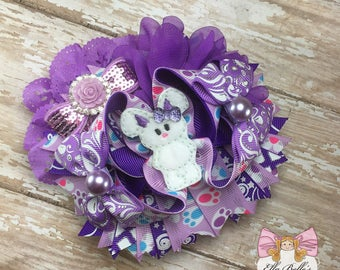 Purple Bunny Bow~ easter bunny bow, easter bunny hairbow, ott hairbows