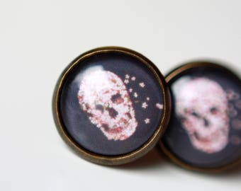 Skull ear studs, 12 mm, bronze,