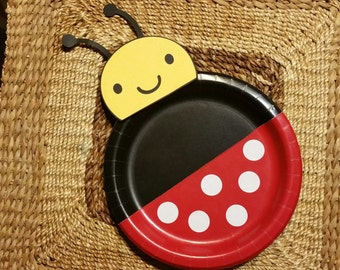 12 Ladybug plates, lady bug party decoration, ladybug birthday party, theme