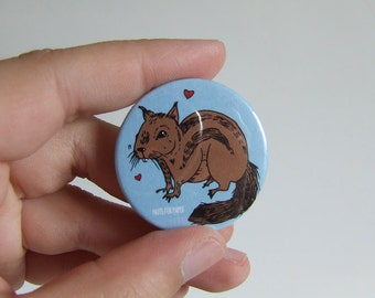 Chipmunk Badge or Magnetic - 38mm Small Pin - Illustration - Animal - Pinback Button