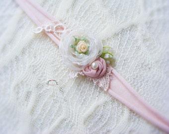 Newborn flower headband, Photography prop, Delicate skinny headband prop,