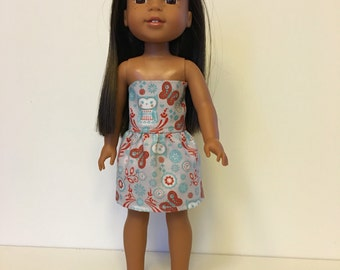 """CLEARANCE Rustic Owls sleeveless dress handmade for 14.5"""" dolls, fits Wellie Wishers"""