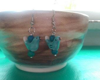 Dangle blue bird earrings