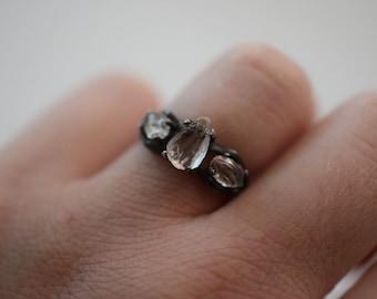Raw 3 Stone Diamond Ring Uncut Engagement Ring Sterling Silver Handmade Engagement Avello