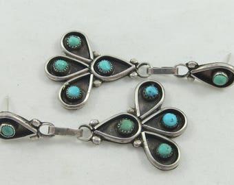 Southwestern Turquoise Earrings/ Silver SterlingTear Drop Turquoise /Native American Sterling Silver Stud Dangles