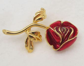 Signed Joan Rivers Red Enamel Red Rose Flower Gold Tone Brooch Pin- as it is