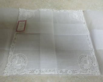 Vintage White Hankie Made in Switzerland on Irish Linen Center Mint  with Tasg