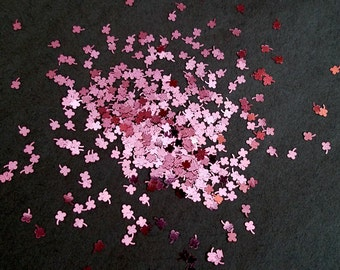 solvent-resistant glitter shapes-pink (metallic) flowers with stems--shamrocks--clovers