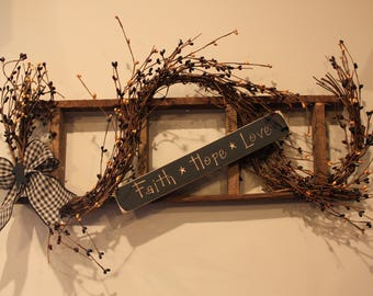 """Tobacco Lath Ladder with """"Faith, Hope, Love"""" Sign Grapevine and Pip Berries"""
