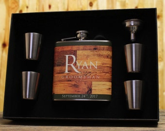 Personalized Flasks, Groomsmen Gifts, Best Man Gift, Rustic Wedding, Set of 10