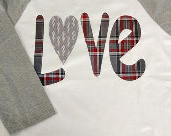 Love Plaid Baseball Tshirt Valentines Day Gift