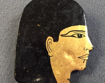 Unusual Black Lacquer and Gold-leaf Egyptian Style Brooch.  Free shipping.