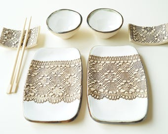 White Sushi Set, 6 Pieces Serving Set for 2, Sushi Dish, Ceramic Tableware, Serving Sushi, Sushi Plate, Ceramics and Pottery, Home & Living