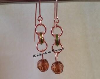 Dark Amber Copper Pierced Earrings