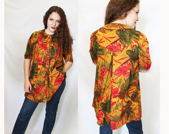 Vintage hawaiian print dress. Free size. Made in Spain.