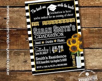 Graduation invitation stripes blank white gold sunflowers graduation celebration party invite chalkboard digital printable invitation 14080