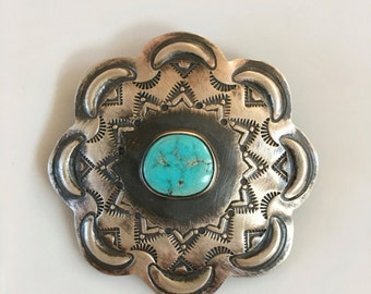 Kingman Turquoise in oxidized sterling silver concha pin or pendant