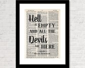 Hell Is Empty And All The Devils Are Here -  Shakespeare Quote - The Tempest