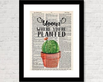 Bloom Where You're Planted - flowering cactus - Boho - Eco Friendly -  Dictionary Page Art - determination - inspirational print