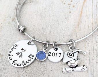 Personalized Graduation Bracelet - Graduation Gift For Her - High School Graduation - College - Arrow Charm Bracelet - 2017 Graduation Gift