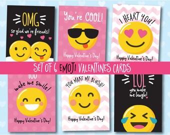Cute Emoji Valentine Cards// Classroom Valentines// Set of 6 Printable
