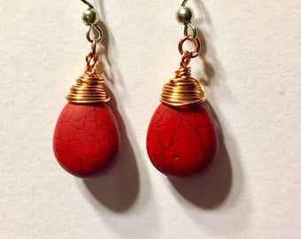 Wire wrapped red briolette earrings