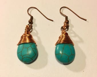 Wire Wrapped Turquoise Earrings