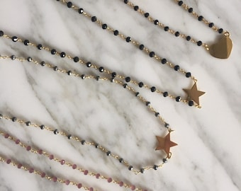 Necklace Rosary with star, heart or Golden Circle.