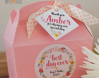 Personalised Wedding Best Day Ever Box Small Pink Floral Custom Favor Treat Box