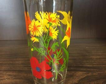Vintage Tall Hazel Atlas Sour Cream Glass Spring Flowers