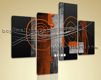 Large Abstract Picture Hd Print Home Decor Living Room Four Panels Giclee, Large Abstract Wall Art, Bedroom, Kilamanjaro