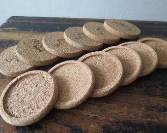 Set of 12 Cork Coasters Recycled Corks Bar Decor @207