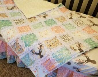 Baby Girl Crib Bedding Deer Stag in Tulip Ruffled Quilt Skirt Sheet