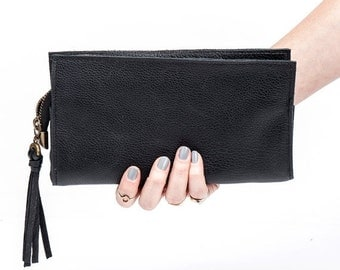 Black Leather Wallet, Women Leather Clutch, Gift for her, Leather purse, Black pouch, Sale