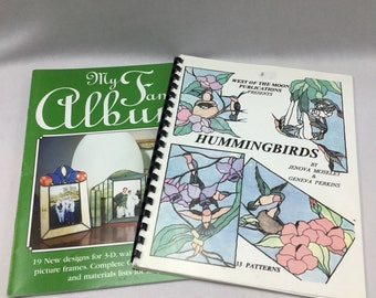 2, Used But in Great Shape Pattern Books, Stained Glass Patterns, Hummingbird Patterns, Picture Frame Patterns