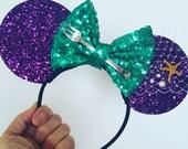 Mermaid Mouse Ears Headband | Minnie Mouse Birthday |Mermaid Headband Minnie Ears | Dinglehopper Mouse Ears| Ariel Mouse Ears | Mermaid Ears