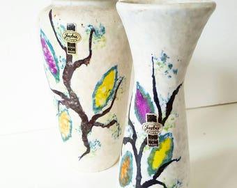 Sixties Jasba keramik set of 2 vases